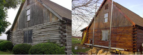 Log home repair log stains cabin restoration for How to stain log cabin